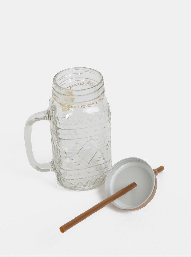 Skleněná láhev s brčkem a víčkem ve zlaté barvě Kaemingk