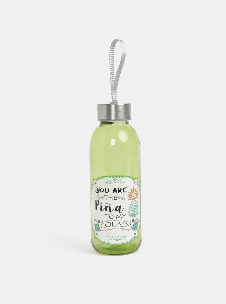 Zelená skleněná láhev s potiskem Kaemingk