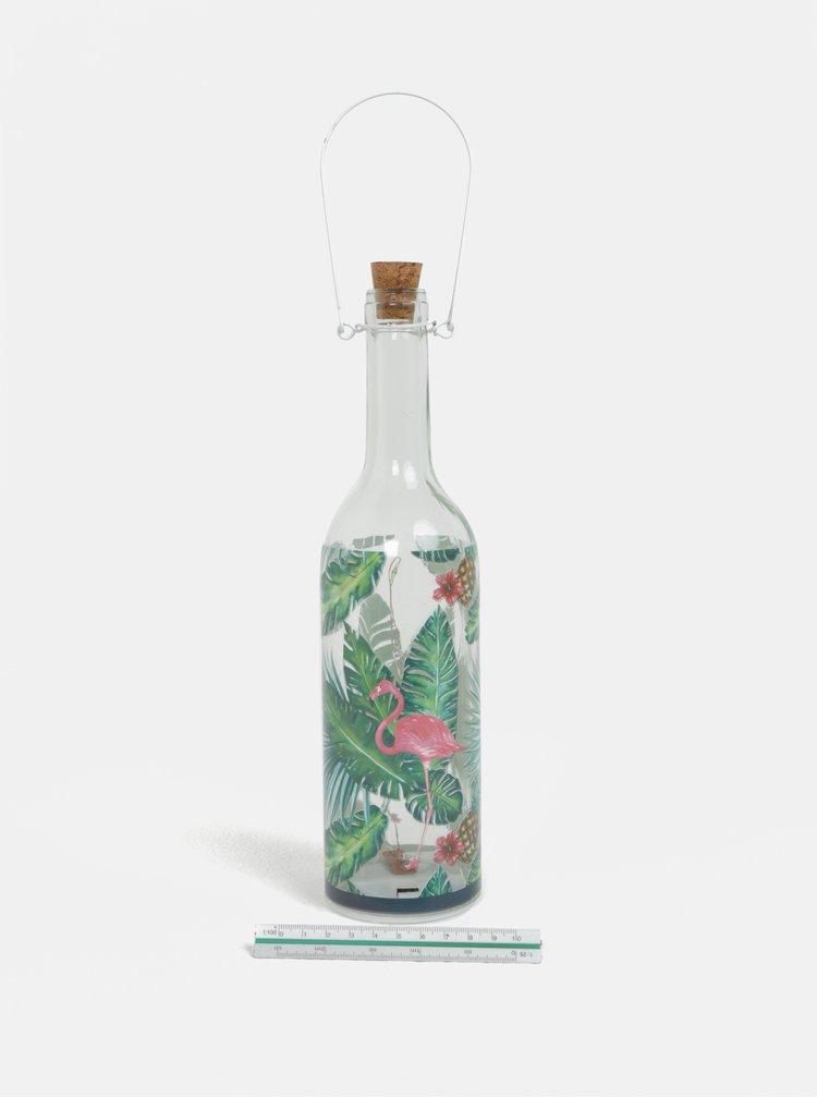 Sticla stralucitoare LED cu imprimeu flamingo si ananas Kaemingk