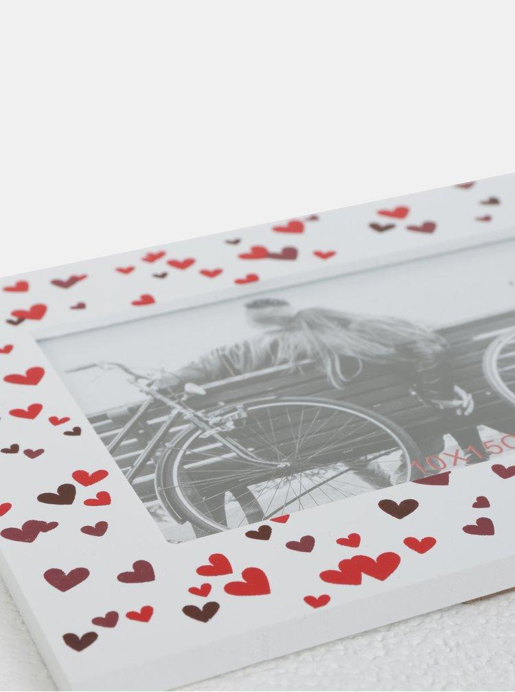 Bílý dřevěný fotorámeček s motivem srdíček Kaemingk Bench