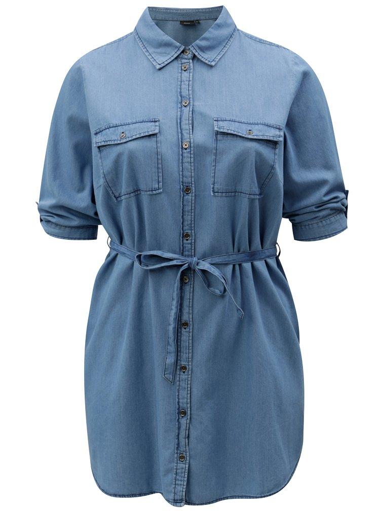 Modrá džínová tunika s 3/4 rukávem Zizzi Deni