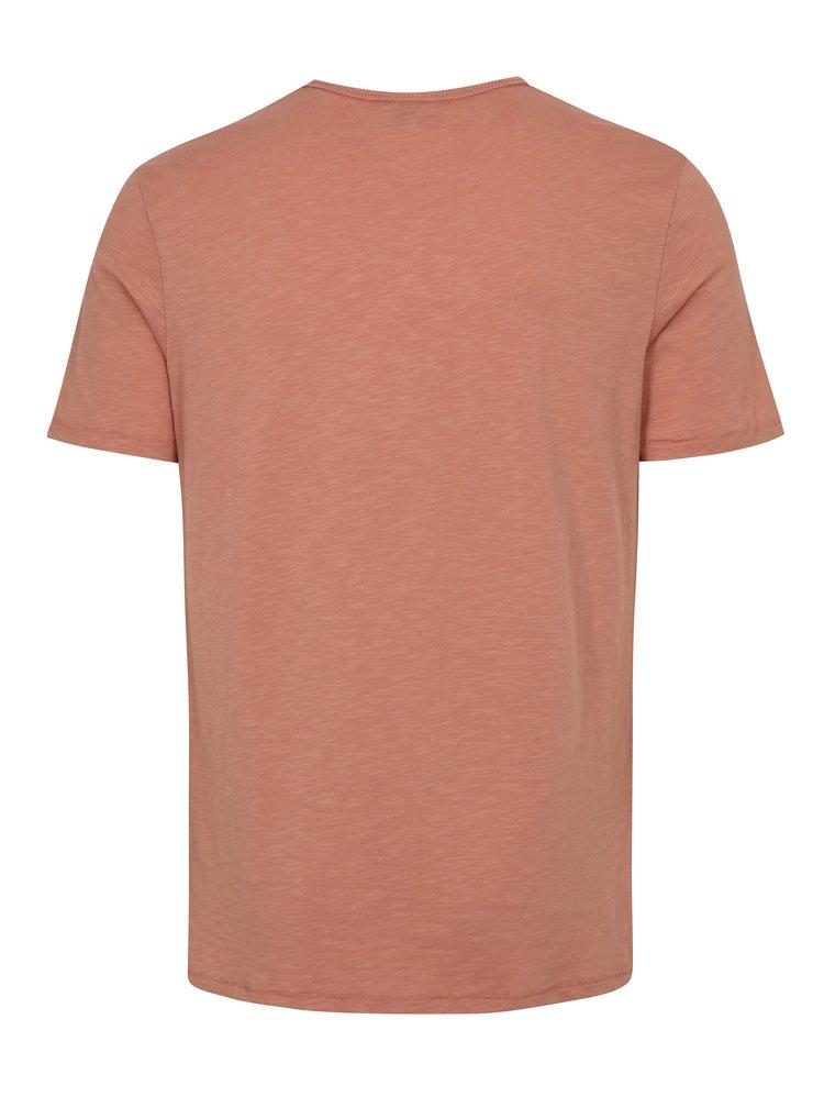 Tricou barbatesc roz prafuit cu print Junk de Luxe