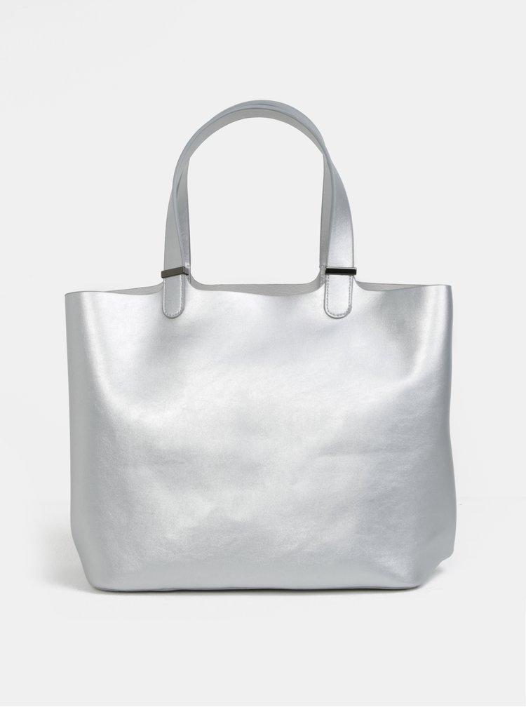 Metalický shopper ve stříbrné barvě 2v1 Pieces Madison
