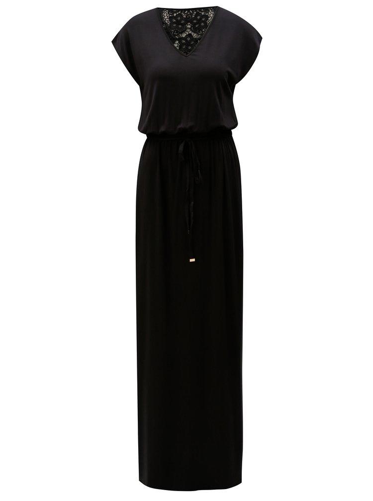 Černé maxišaty s páskem a krajkou na zádech Dorothy Perkins Tall