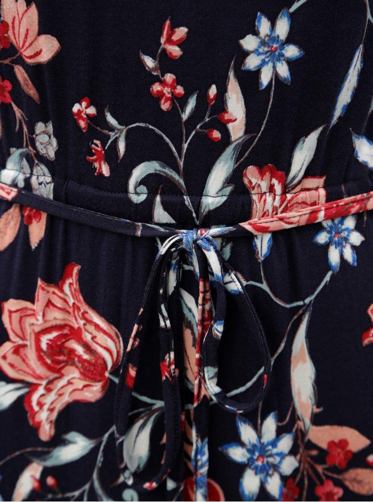 Tmavomodré kvetované maxišaty Dorothy Perkins Petite