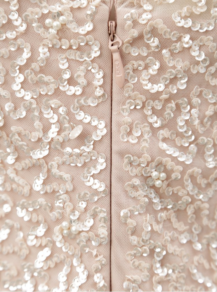 Světle růžové maxišaty s flitrovaným topem Dorothy Perkins