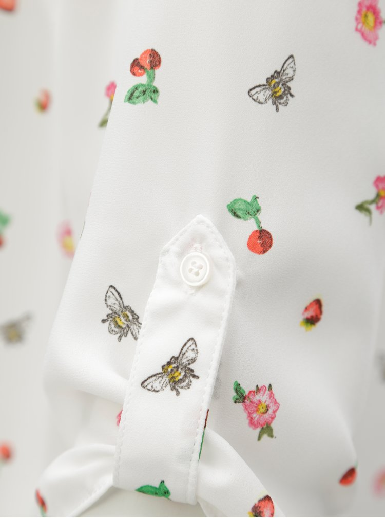 Bílá vzorovaná halenka s 3/4 rukávem Billie & Blossom Curve