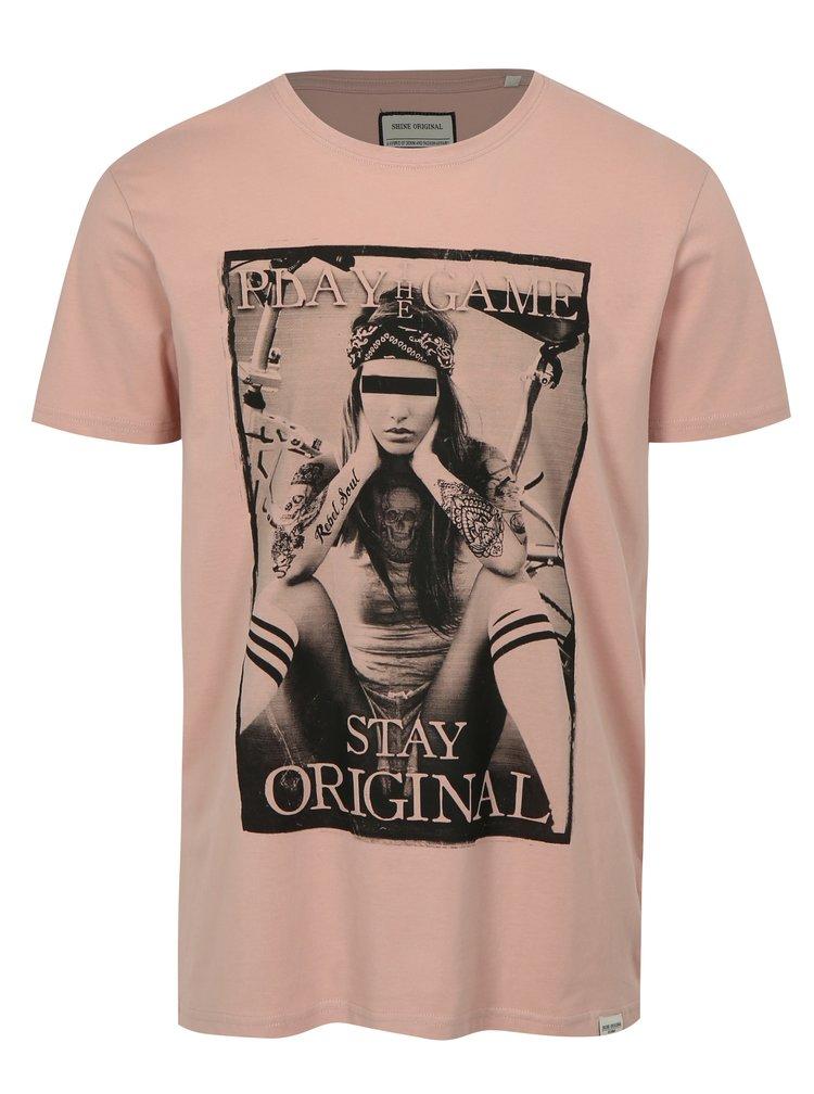 Světle růžové tričko s potiskem Game Shine Original
