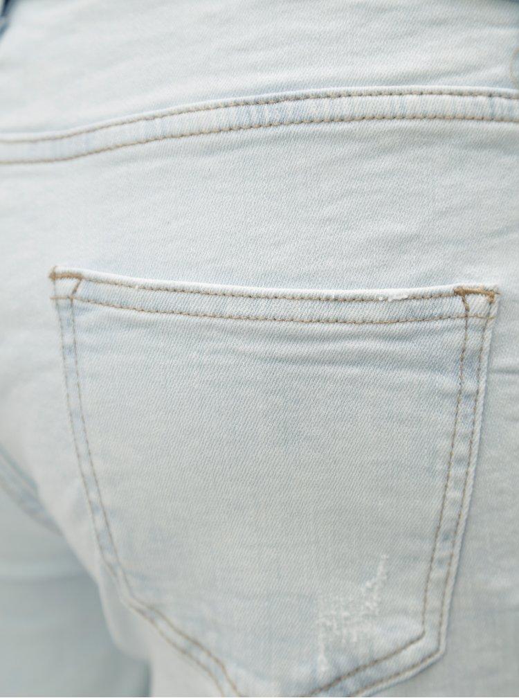 Světle modré džínové kraťasy s výšivkou Dorothy Perkins Petite