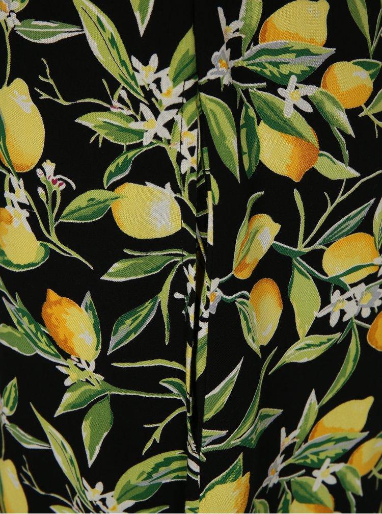 Žlto-čierne vzorované maxišaty Fever London Lemon
