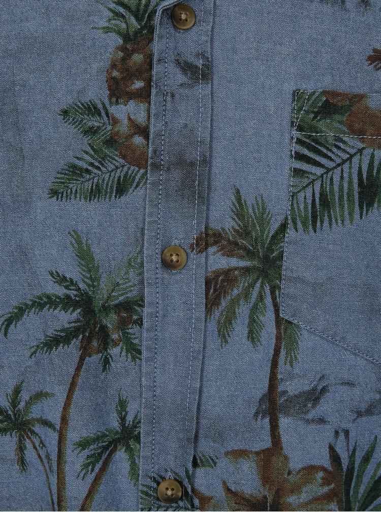 Modrá košile s tropickým potiskem a krátkým rukávem Shine Original