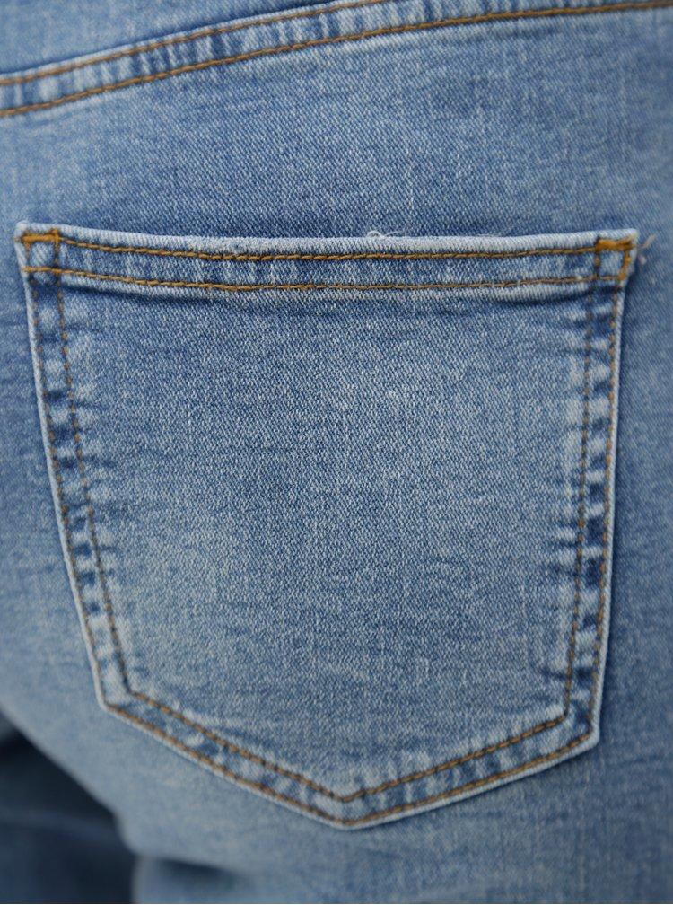 Modré 3/4 slim džíny s potrhaným efektem Dorothy Perkins Corey
