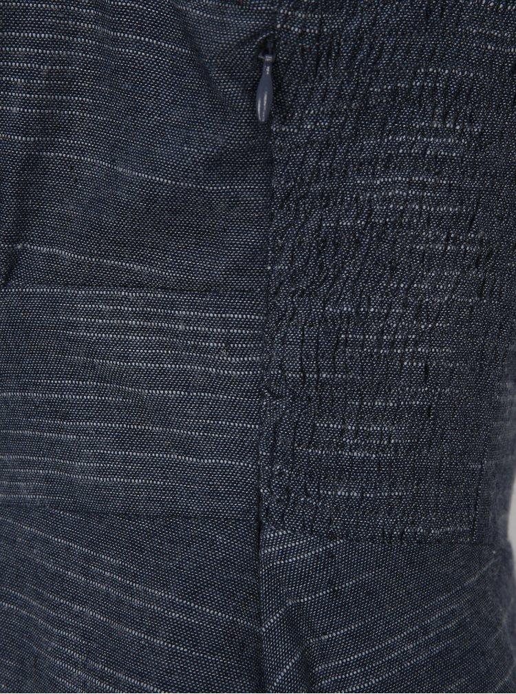 Tmavě modré žíhané lněné šaty Fever London Harlow