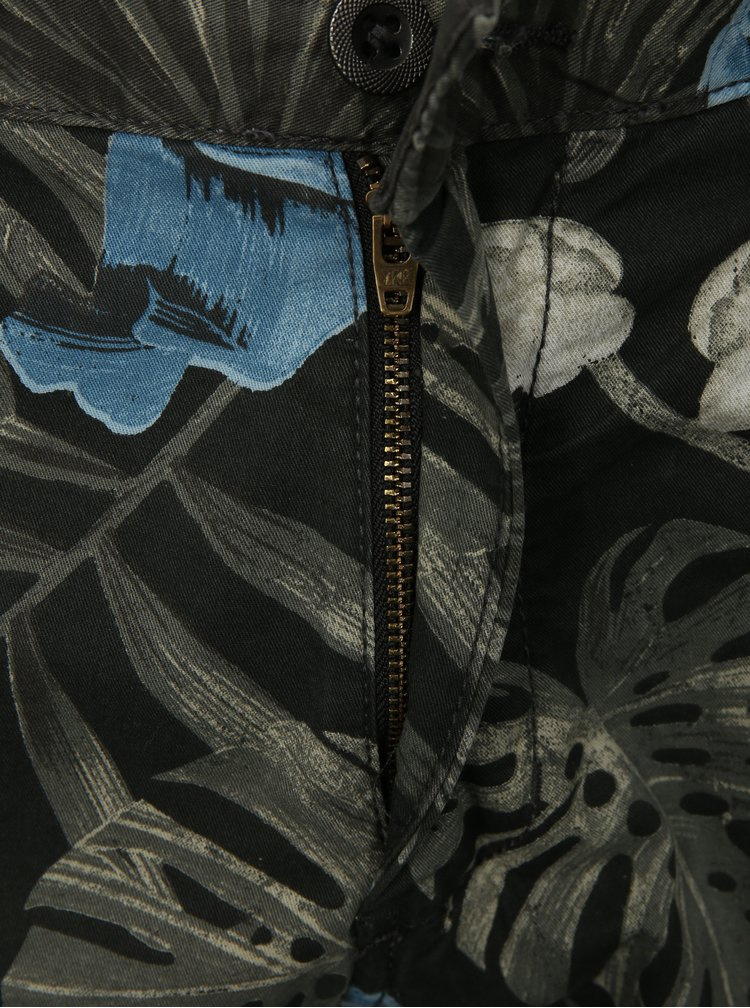 Černé květované chino kraťasy Shine Original