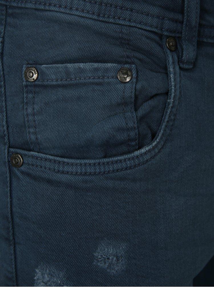 Blugi tapered fit albastru inchis cu efect rupt Shine Original
