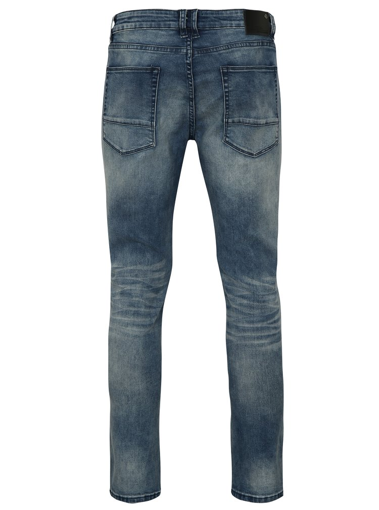 Modré skinny fit rifle s vyšúchaným efektom Shine Original