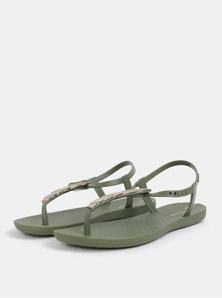 Khaki sandály s ozdobou ve zlaté barvě Ipanema Charm V