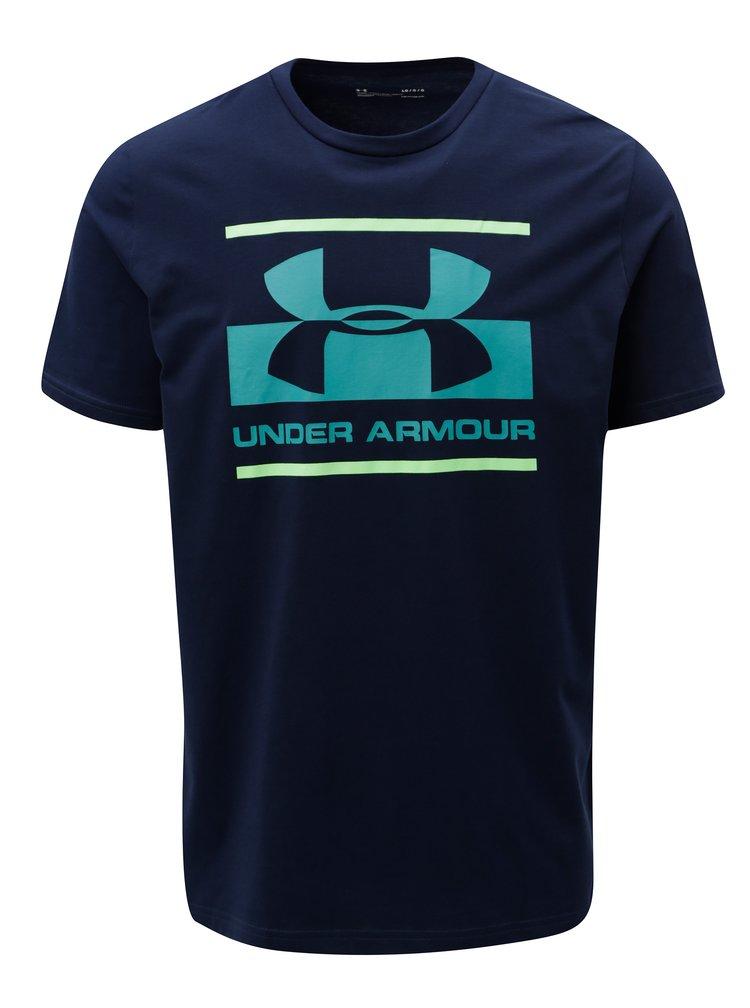 Modré pánské funkční tričko s potiskem Under Armour