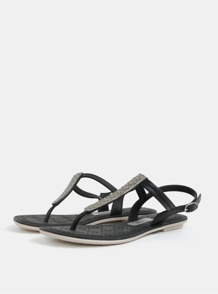 Černé sandály s ozdobnou aplikací Grendha Sense