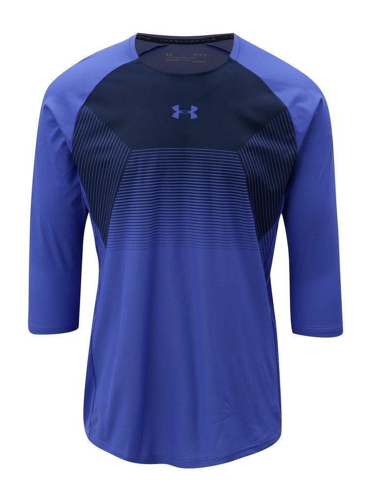 Modré pánské funkční tričko s 3/4 rukávem Under Armour