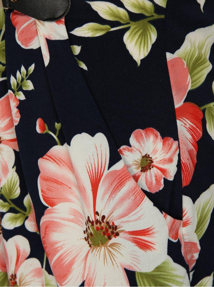 Tmavě modré květované šaty s kovovou aplikací Mela London