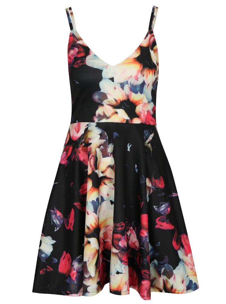 Černé vzorované áčkové šaty Mela London