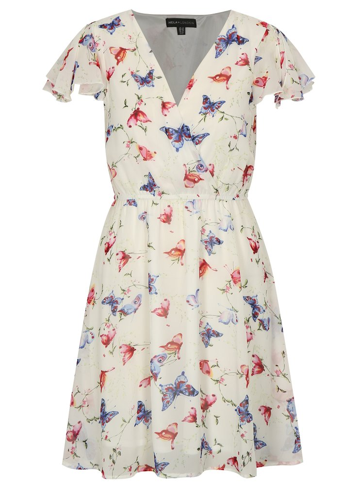 Bílé vzorované šaty s překládaným výstřihem Mela London