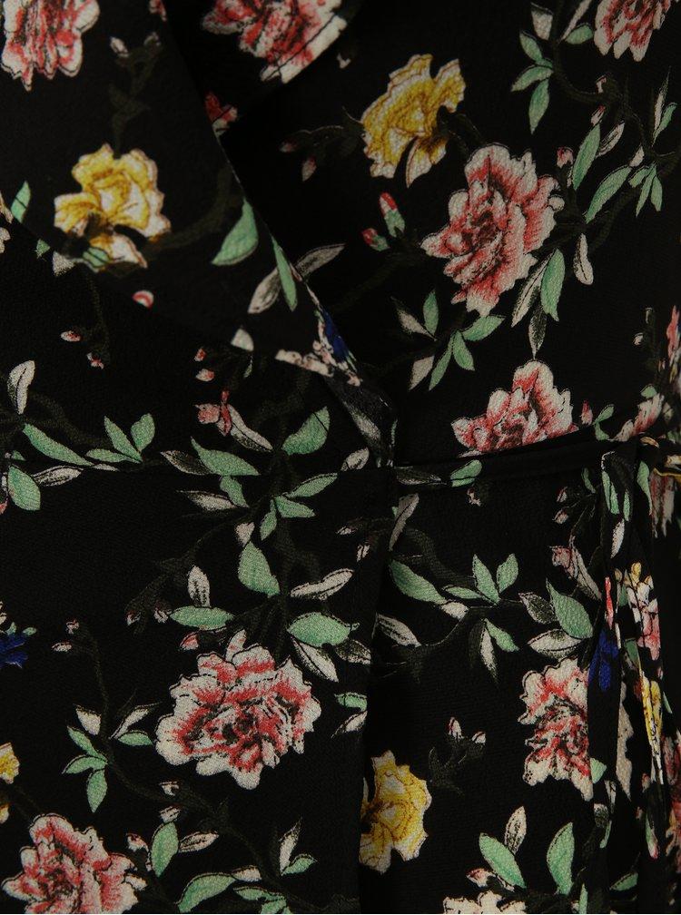 Čierne kvetované zavinovacie šaty Mela London