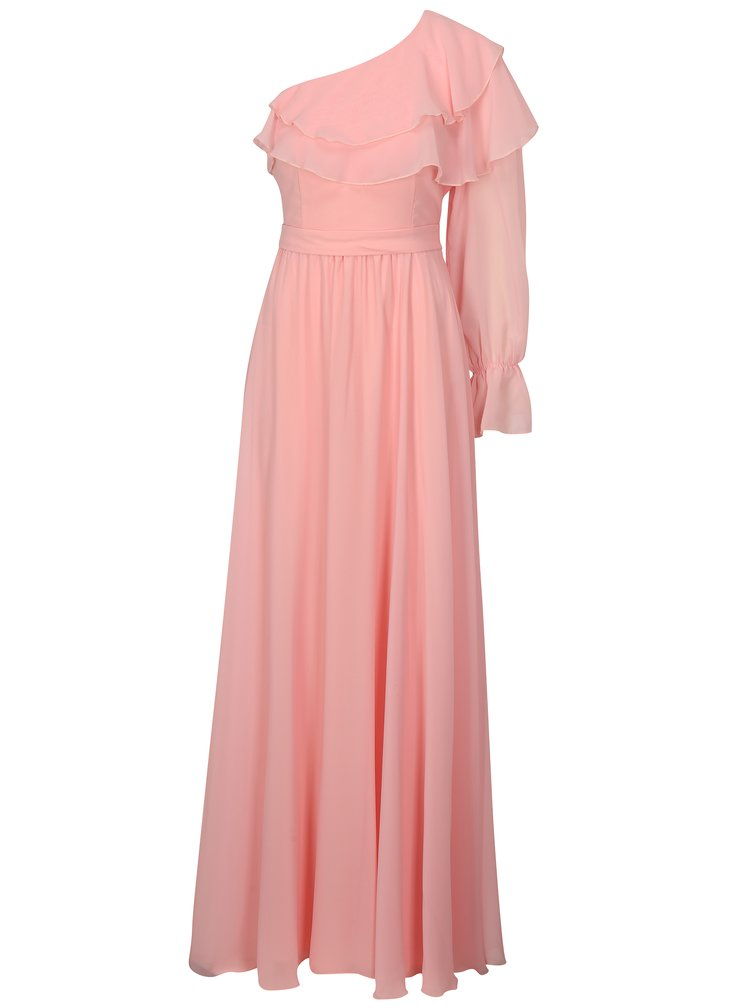 Světle růžové asymetrické maxišaty Miss Grey Ada