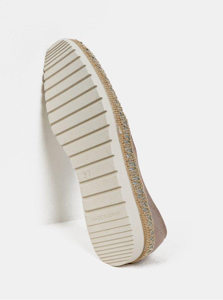 Starorůžové semišové slip on s třpytivými detaily OJJU