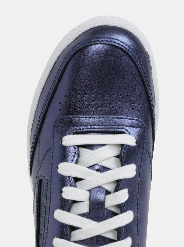 Tenisi de dama albastru inchis cu aspect metalic din piele naturala Reebok Club C 85
