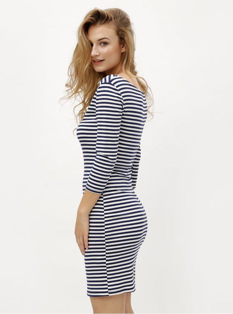 Bílo-modré pruhované šaty s 3/4 rukávem ZOOT