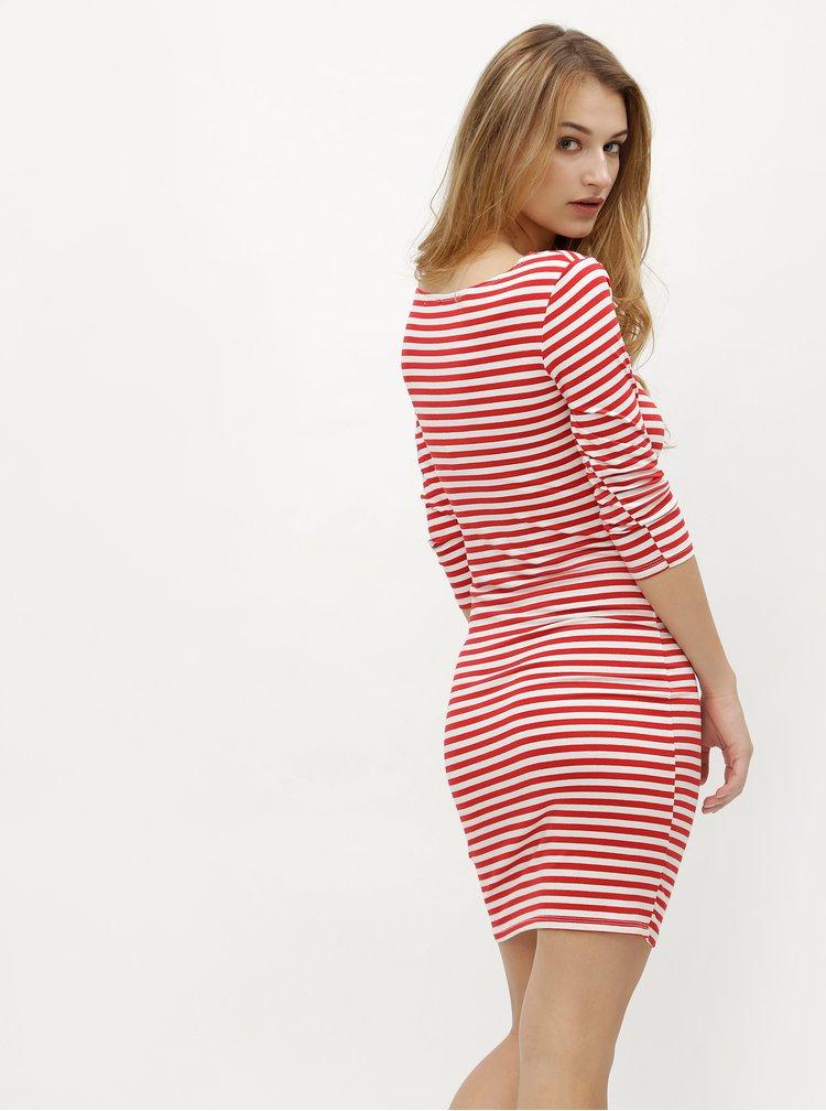 Bielo-červené pruhované šaty s 3/4 rukávom ZOOT