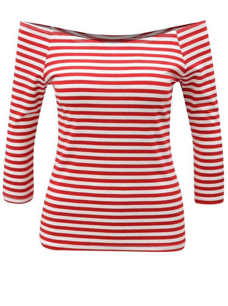Bílo-červené vzorované tričko s odhalenými rameny ZOOT