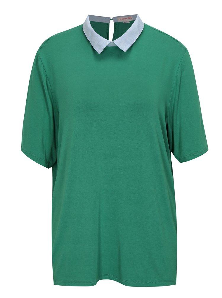Zelené tričko s límečkem La femme MiMi