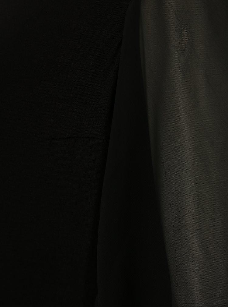 Černá halenka s průsvitnými rukávy La femme MiMi