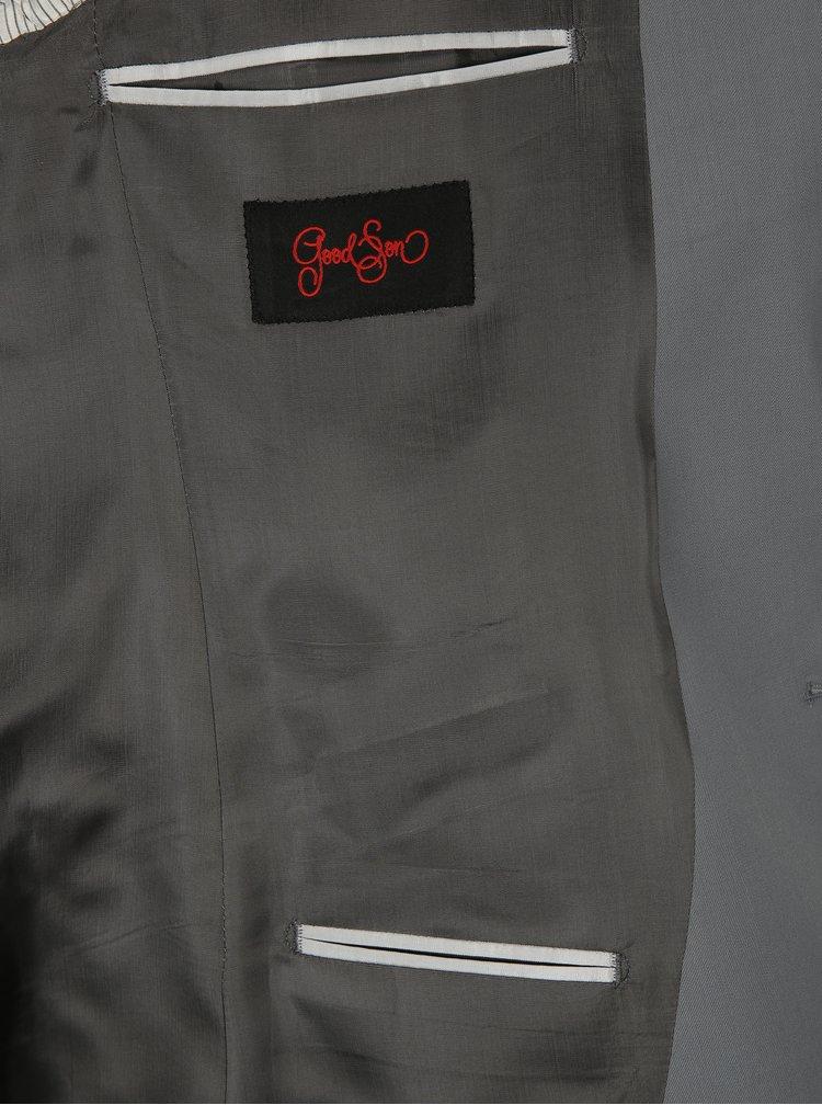 Šedé oblekové vlněné sako Good Son