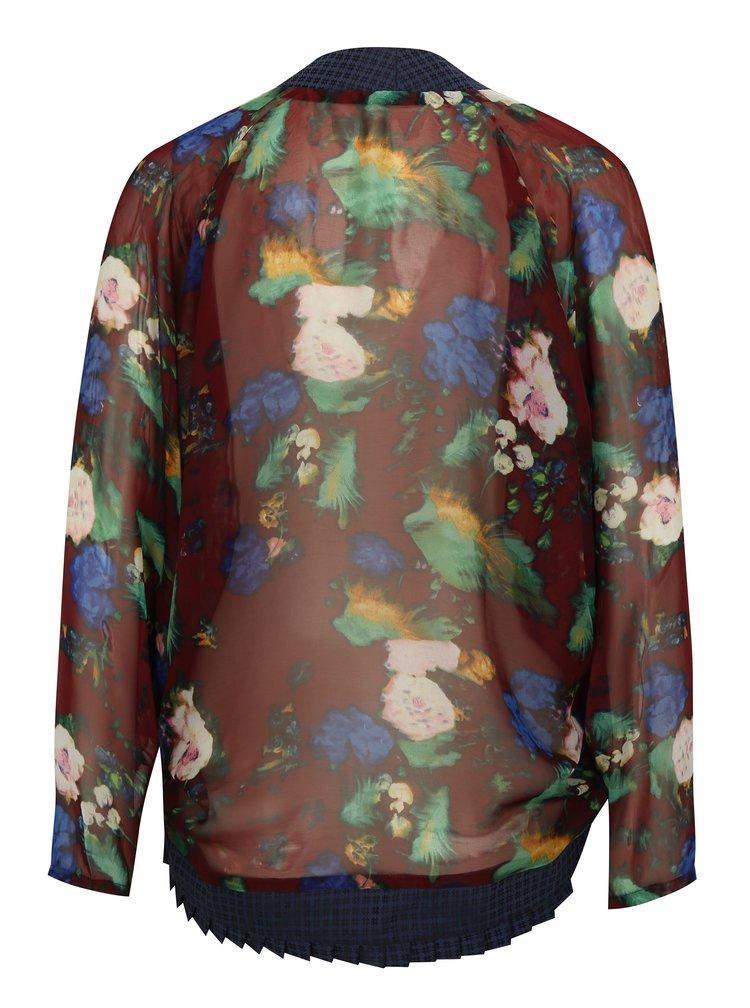 Modro-vínové květované průsvitné kimono La femme MiMi