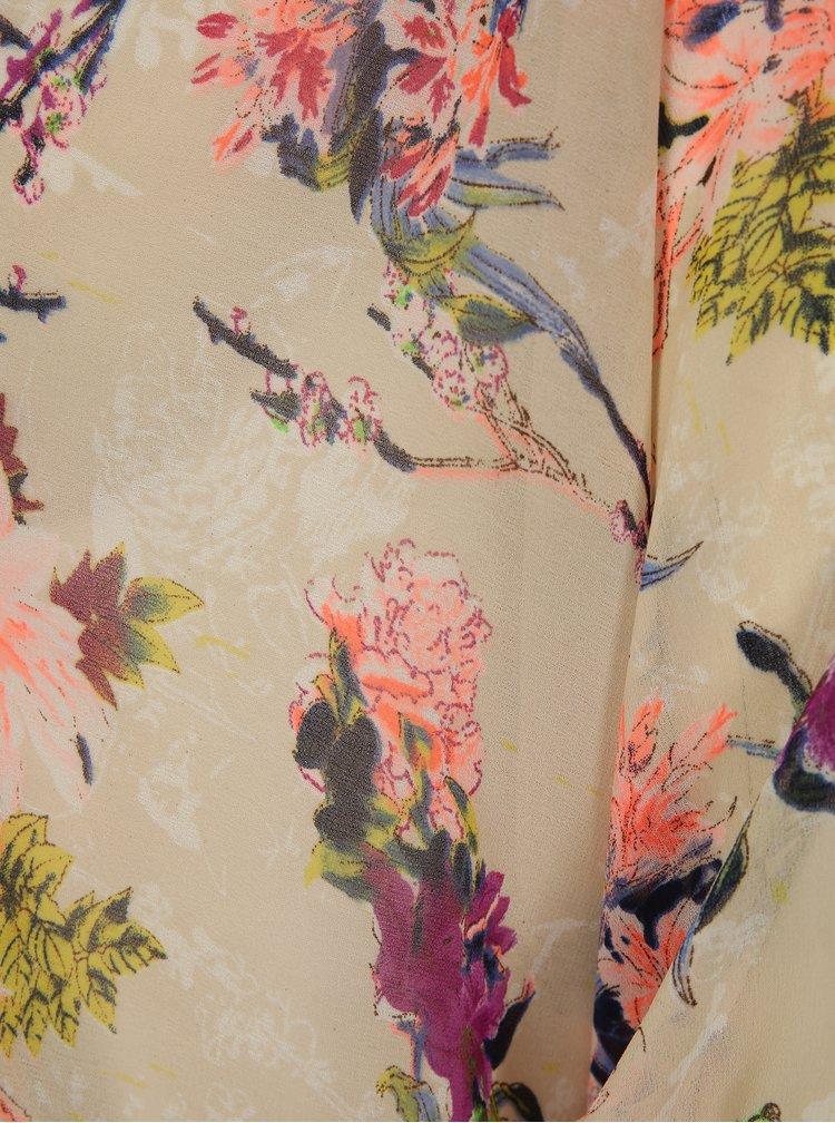 Béžové květované průsvitné kimono La femme MiMi