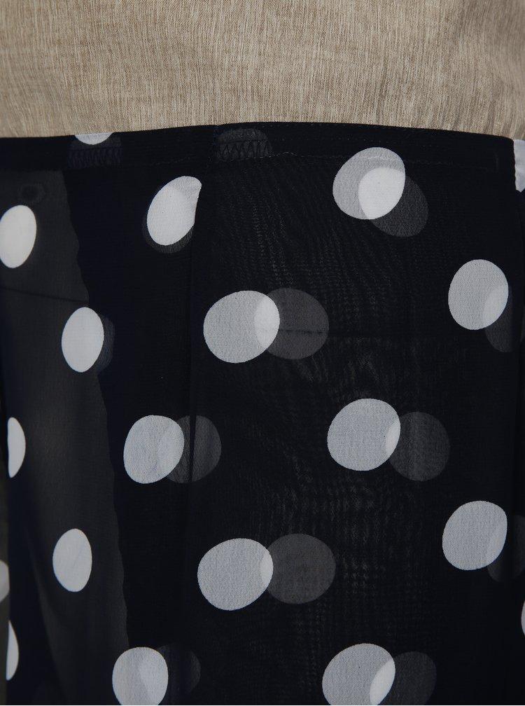 Modré průsvitné puntíkované zavinovací culottes La femme MiMi