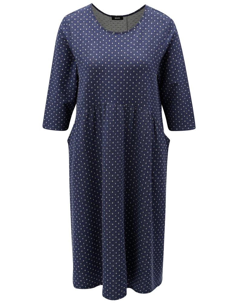 Rochie albastru inchis cu buline lejera si maneci 3/4 ZOOT