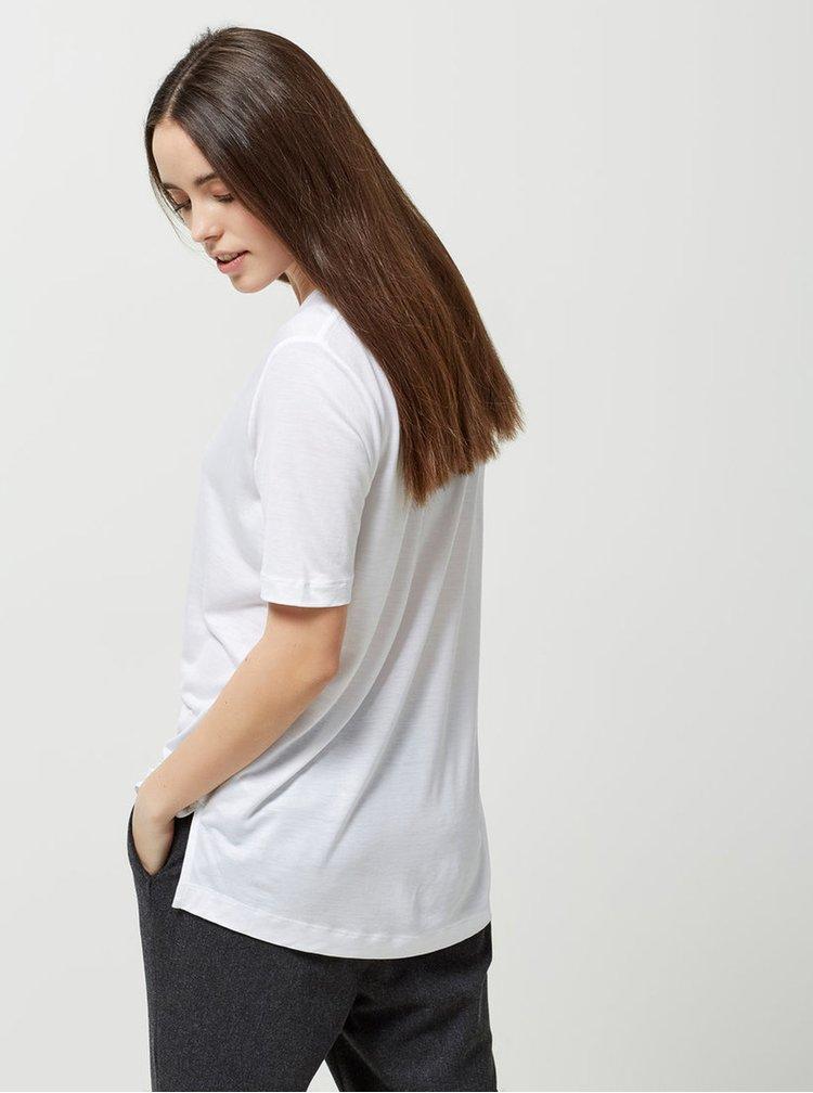 Bílé basic tričko s véčkovým výstřihem Selected Femme Lyro