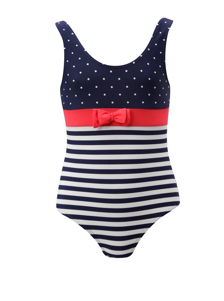 Bílo-modré holčičí vzorované jednodílné plavky 5.10.15.