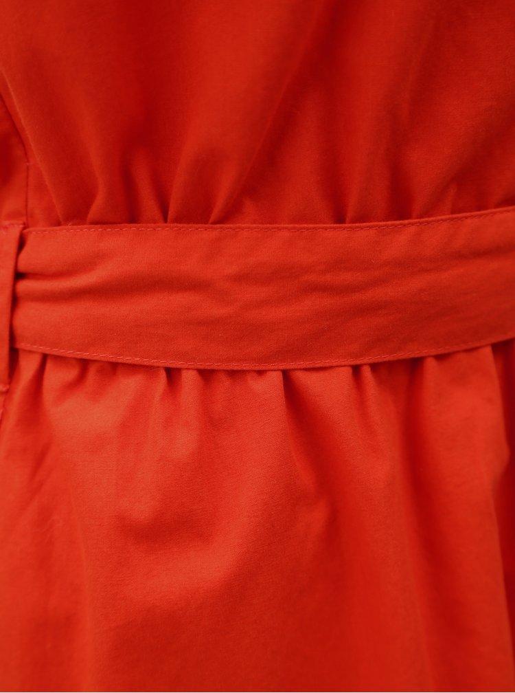 Červené šaty s volánem a zavazováním Jacqueline de Yong Damilla