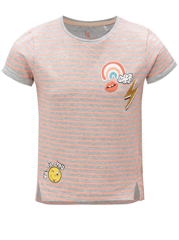 Oranžovo-šedé holčičí pruhované tričko s potiskem 5.10.15.