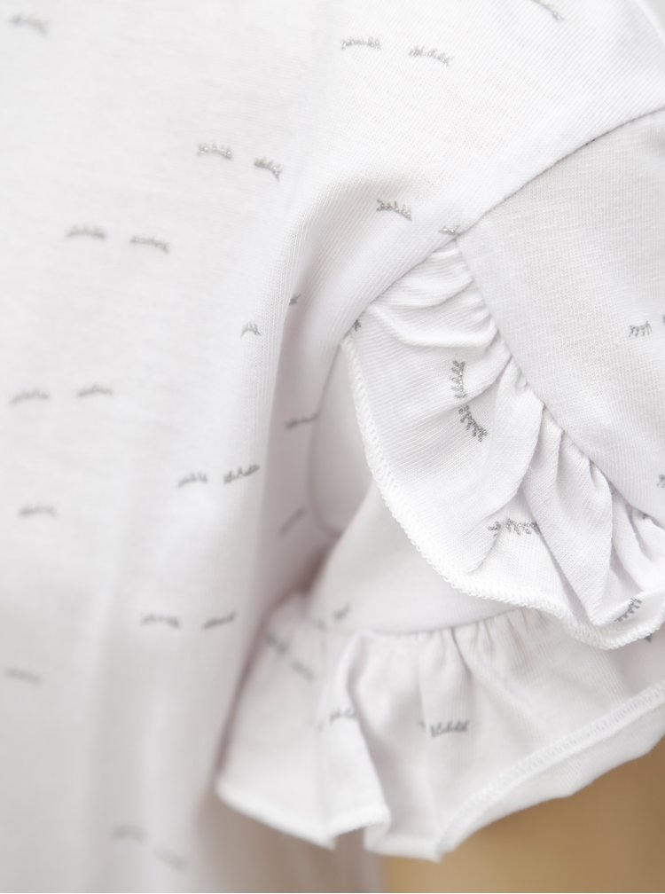 Bílé holčičí vzorované tričko s volány 5.10.15.