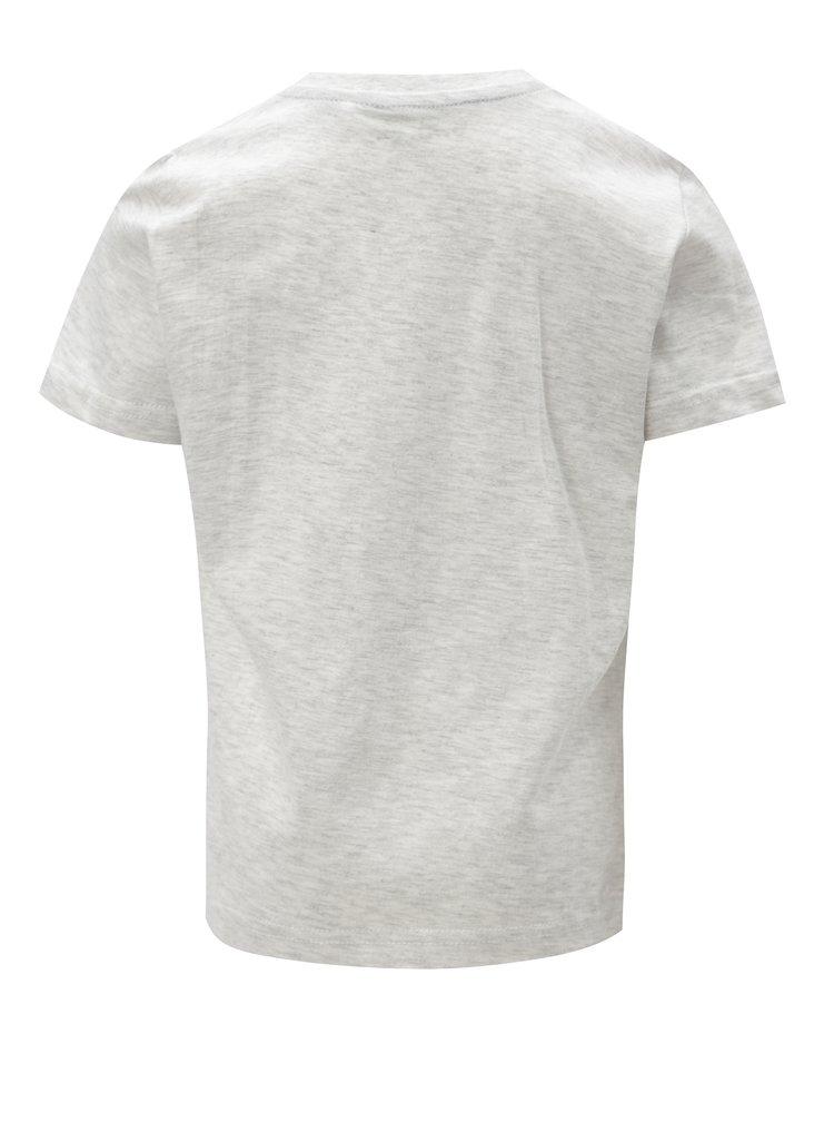 Světle šedé žíhané klučičí tričko s potiskem 5.10.15.