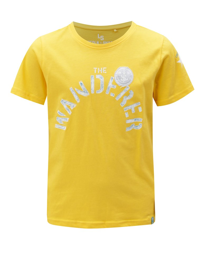 Žluté klučičí tričko s potiskem a nášivkou  5.10.15.