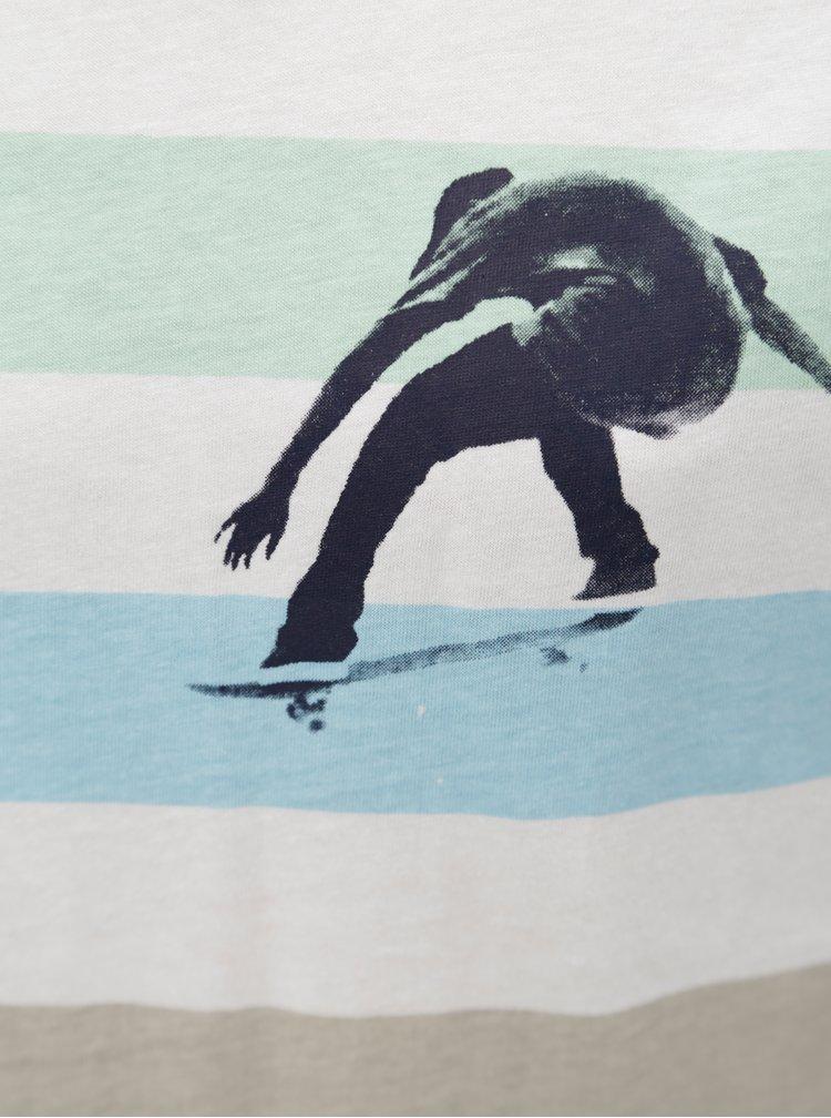 Modro-biele chlapčenské pruhované tričko s potlačou 5.10.15.