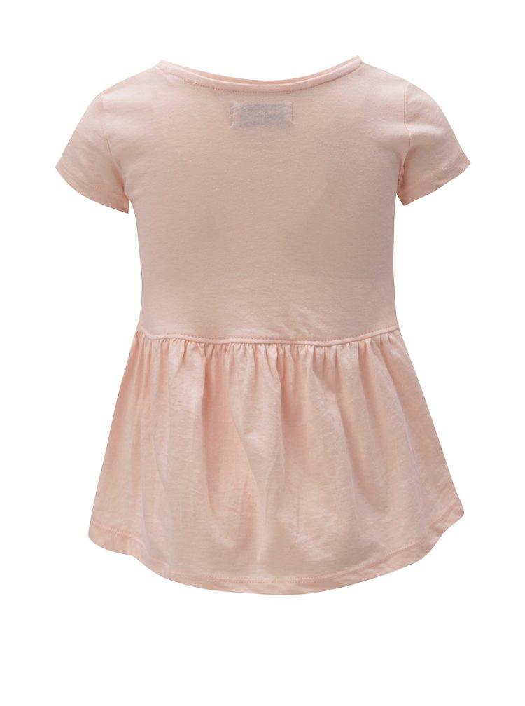 Světle růžové holčičí tričko s potiskem 5.10.15.